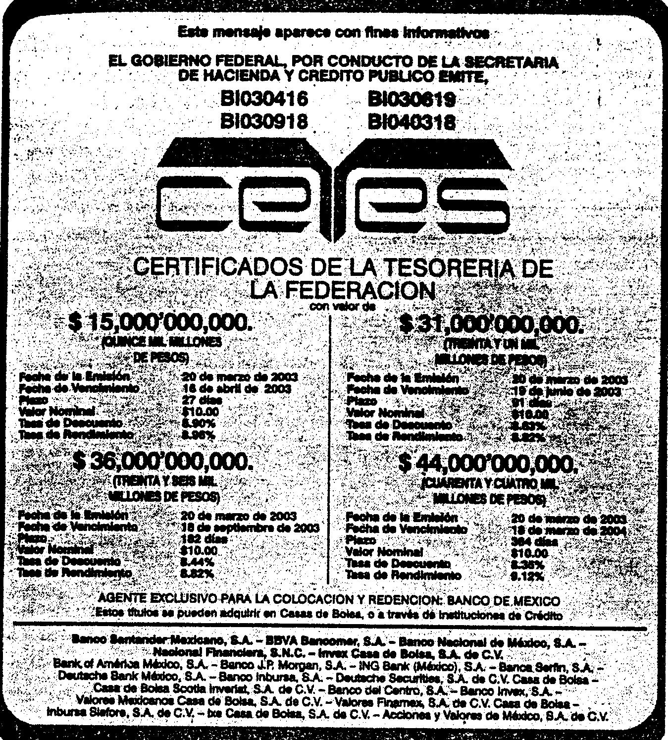 'Certificado de la Tesorería de la Federación'