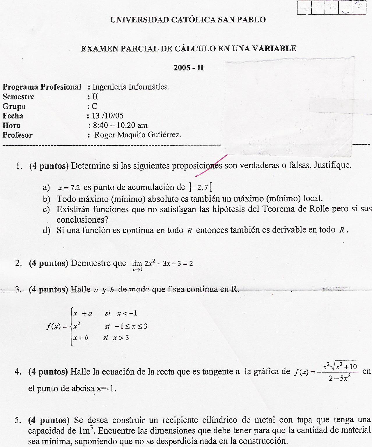 'Cálculo de una variable'